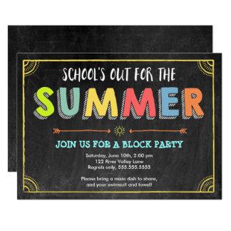 Convite-School do verão da festa do quarteirão Convite 12.7 X 17.78cm