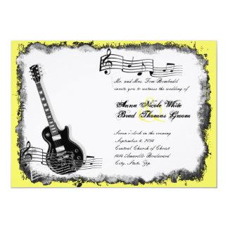 Convite selvagem do casamento da música do amarelo