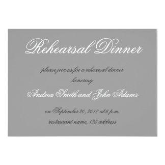 Convite simples cinzento do jantar de ensaio do