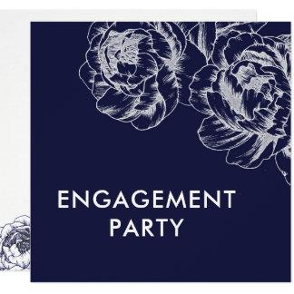 Convite simples da festa de noivado da peônia do