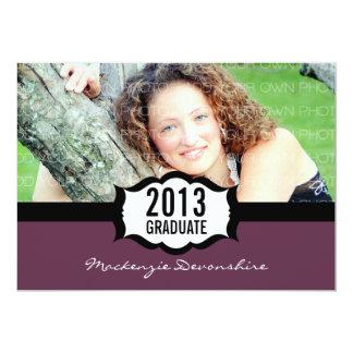 Convite simples da graduação, roxo convite 12.7 x 17.78cm