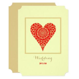 Convite simples do casamento do coração vermelho