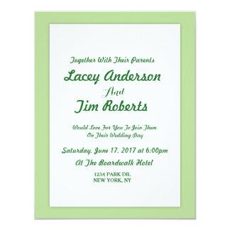 Convite simples do casamento do monograma do verde