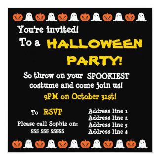 Convite simples do Dia das Bruxas do fantasma e da Convite Quadrado 13.35 X 13.35cm