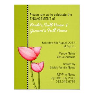 Convite simples do noivado do verde 1 das flores