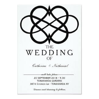Convite simples moderno do casamento do coração da