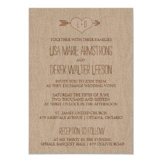 Convite simples rústico do casamento do Woodgrain