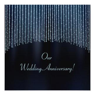 Convite Sparkling azul do aniversário do brilho