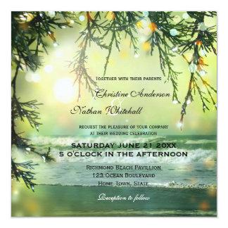 Convite Sparkling do casamento de praia das luzes