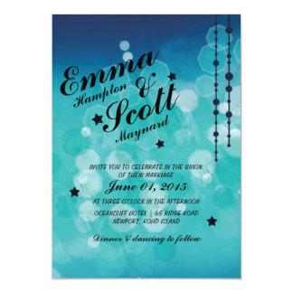 Convite sparkly azul das estrelas do casamento no