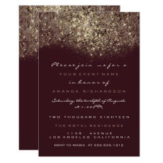 Convite Sparkly de Borgonha do brilho do ouro do
