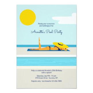 Convite Sunbathing da festa na piscina
