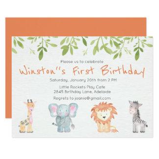 Convite temático do aniversário da selva do menino