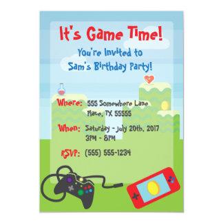 Convite temático do aniversário do jogo de vídeo