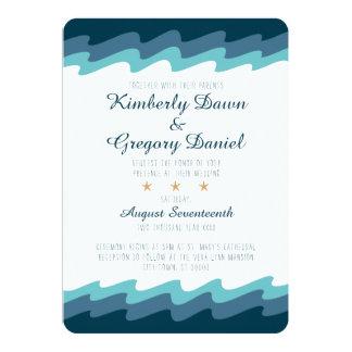 Convite temático do casamento da praia - onda azul