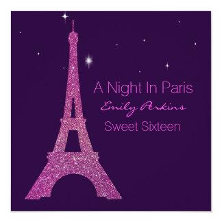 Convite temático roxo do doce dezesseis de Paris