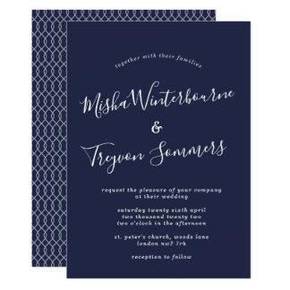 Convite tipográfico do casamento do marinho