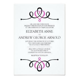 Convite tradicional do casamento do rosa clássico