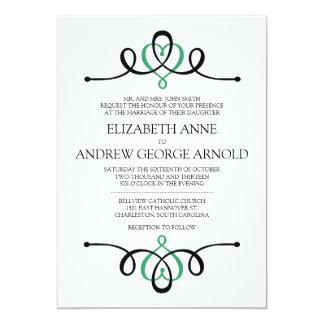 Convite tradicional do casamento do verde clássico