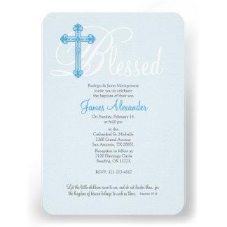 convite transversal azul do baptismo do BATISMO
