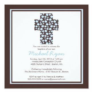 Convite transversal azul moderno do baptismo dos convite quadrado 13.35 x 13.35cm