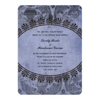 Convite transversal católico do casamento do