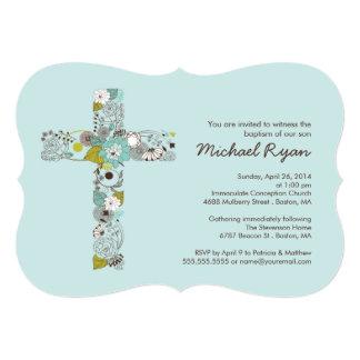 Convite transversal floral azul moderno do convite 12.7 x 17.78cm