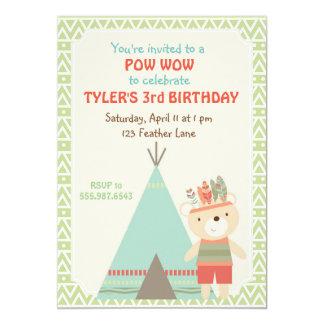 Convite tribal do aniversário do urso do