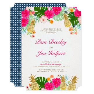 Convite tropical cor-de-rosa brilhante do noivado