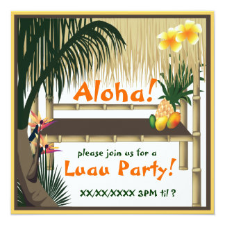 Convite tropical da cabana de Tiki do partido de