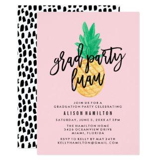 Convite tropical da festa de formatura de Luau no
