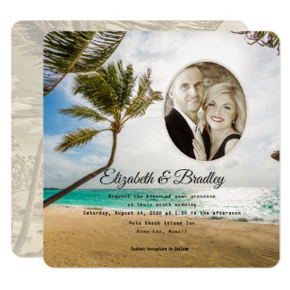 Convite tropical da foto do casamento da palmeira