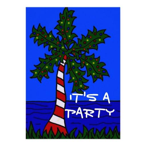 Convite tropical da palma do Natal