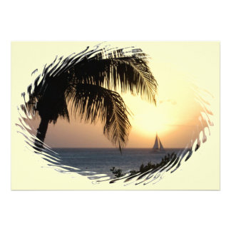 Convite tropical da vela do por do sol