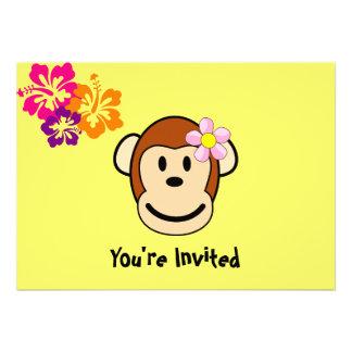 Convite tropical das flores da menina do macaco