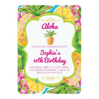 Convite tropical do aniversário do abacaxi
