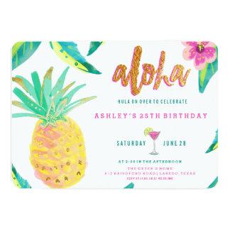 convite tropical do aniversário do luau