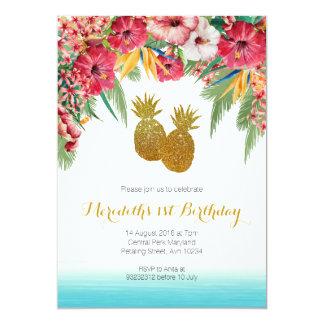 Convite tropical do aniversário do verão