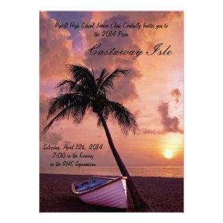 Convite tropical do baile de formatura da palmeira