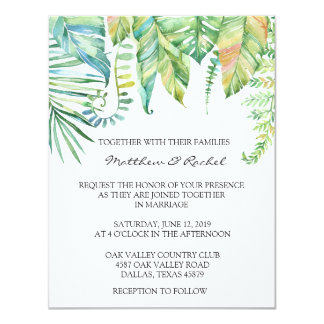 Convite tropical do casamento da folha