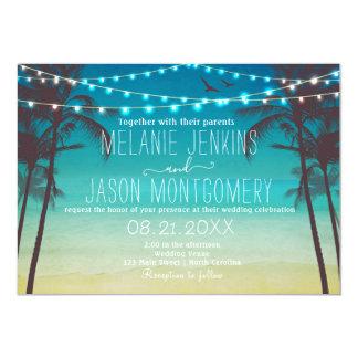 Convite tropical do casamento da palmeira da praia
