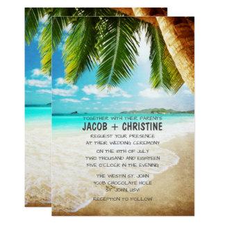 Convite tropical do casamento de praia da ilha