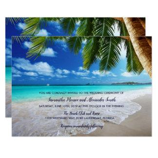 Convite tropical do casamento de praia da palmeira