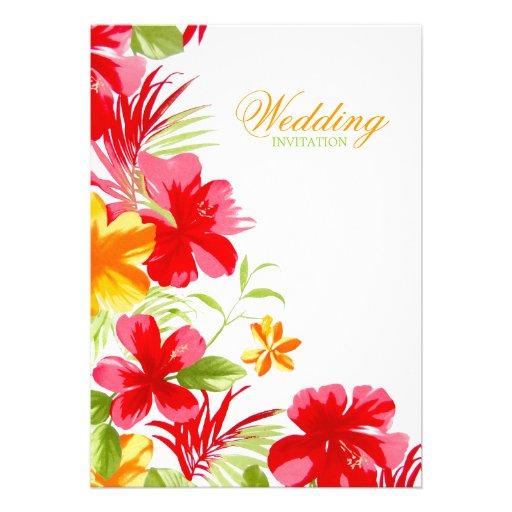 Convite tropical do casamento do hibiscus