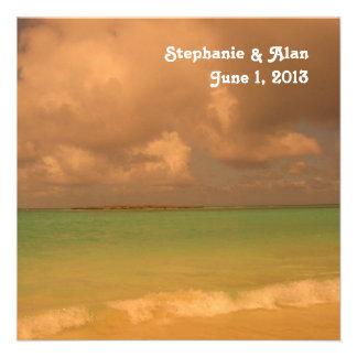 Convite tropical do casamento do mar
