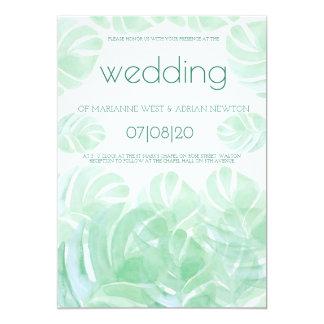 Convite tropical do casamento do verão das folhas