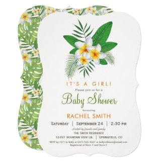Convite tropical do chá de fraldas do Plumeria