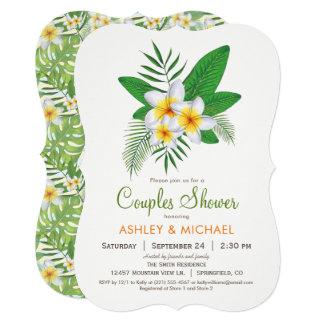 Convite tropical do chá dos casais do Plumeria