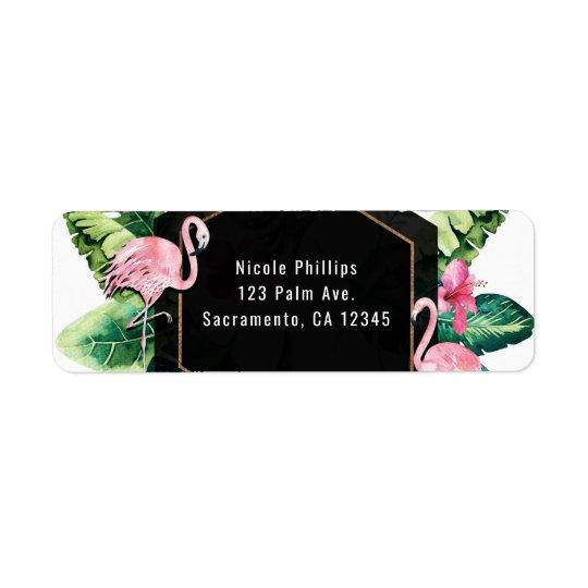 Convite tropical dos flamingos do hibiscus das etiqueta endereço de retorno
