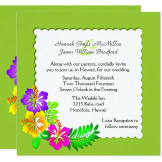 Convite tropical havaiano colorido do casamento